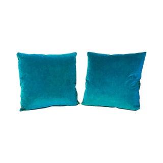Kim Salmela Cyan Blue Silk Velvet Square Throw Pillows - a Pair For Sale