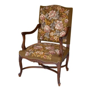 19th Century Antique French Louis XV Original Needlepoint Tapestry Armchair For Sale