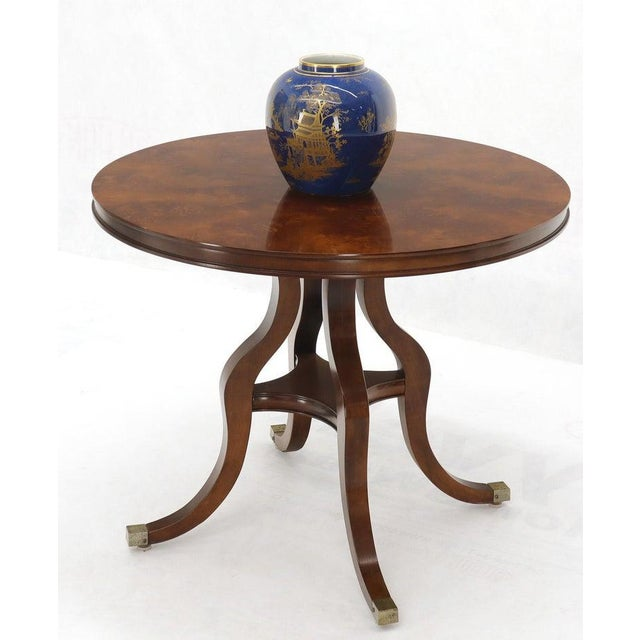 Flame Mahogany Round Top Lamp Table by Century For Sale - Image 6 of 13