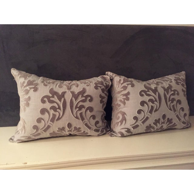 Silver Linen and Velvet Meet Each Other Pillows - A Pair For Sale - Image 8 of 8
