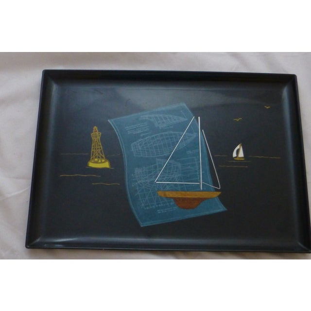 Mid-Century Couroc Sailboat Serving Tray - Image 5 of 10