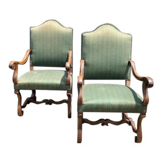 Antique French Louis XVI Carved Walnut Armchairs - a Pair For Sale