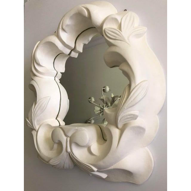 Boho Chic Vintage Hollywood Regency Plaster Mirror For Sale - Image 3 of 13
