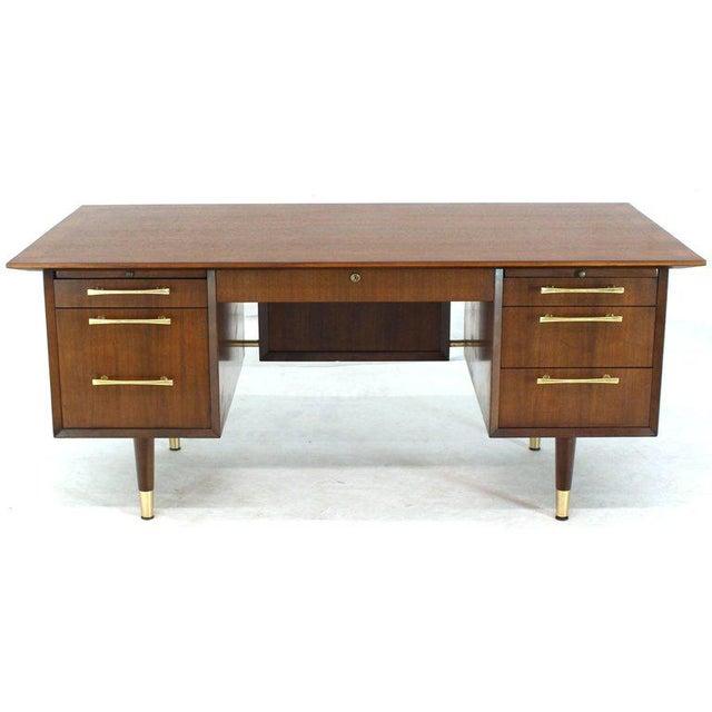 Caned Back Overhanging Floating Banded Top Large Brass Hardware Executive Desk For Sale - Image 12 of 12