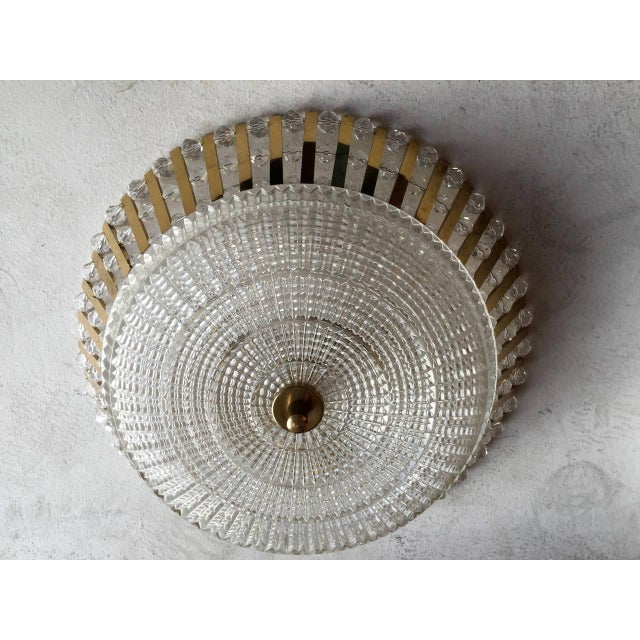 Brass 1950s Stejnar Austrian Crystal Flush Light Pendant For Sale - Image 8 of 11