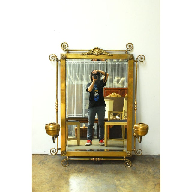 Highly Unusual 19th Century Brass Beveled Mirror With Original Oil Burning Sconces Attached To Scrolled