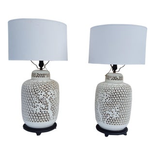 Blanc De Chine Hollywood Regency Style White Porcelain Pierce Lamps - A Pair