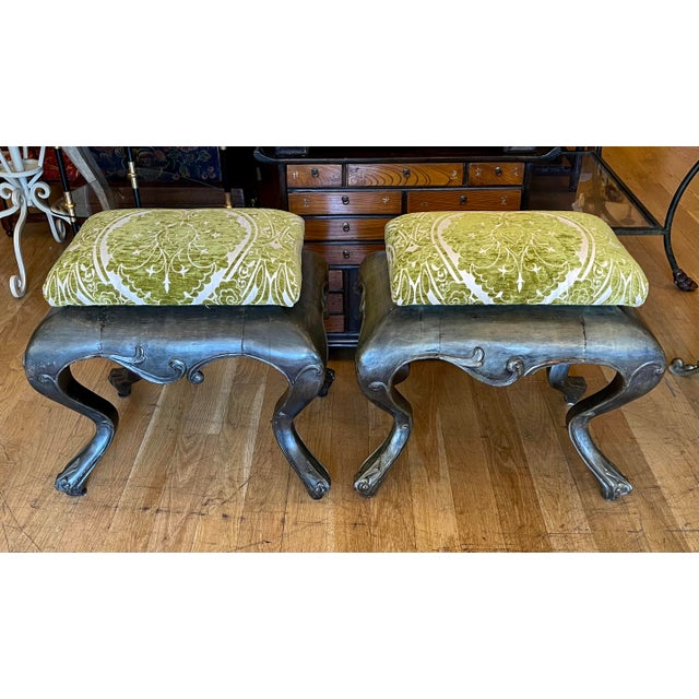 Mid 19th Century Antique 19c Carved Venetian Stools - a Pair For Sale - Image 5 of 5
