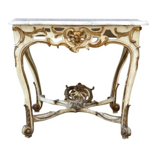 Elegant 18th Century Italian Rococo Console in Marble and Carved Wood For Sale