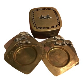 Mid-Century Brass & Silver Bow Box Coasters - Set of 6 For Sale