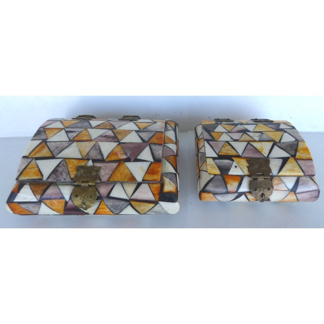 Inlaid Over-Dyed Bone Boxes - A Pair - Image 8 of 10
