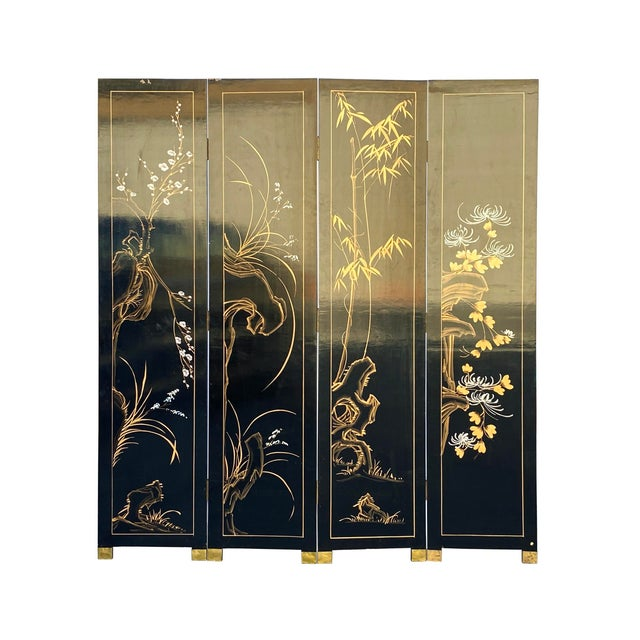 Wood Jade Color Stone Inlaid Black Lacquer Wood Floor Screen Divider For Sale - Image 7 of 11