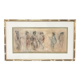 Oriental Sketch Painting in Jade Trimmed Bamboo Frame For Sale