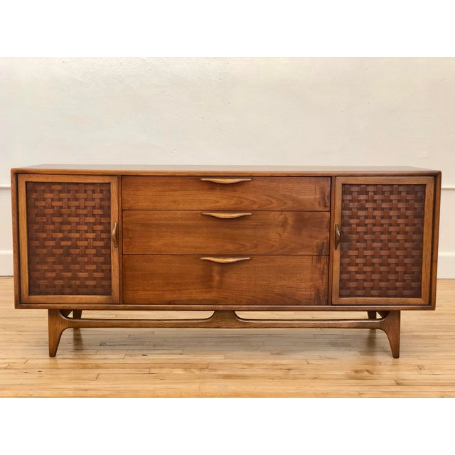 Mid Century Modern Lane Perception Compact Double Bank Sideboard Buffet Credenza - Danish Style Walnut Woven Door Lowboy Dresser For Sale - Image 9 of 9