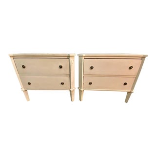 Pair of Swedish Nightstands, End Tables or Side Tables, Having Two Drawers Each For Sale