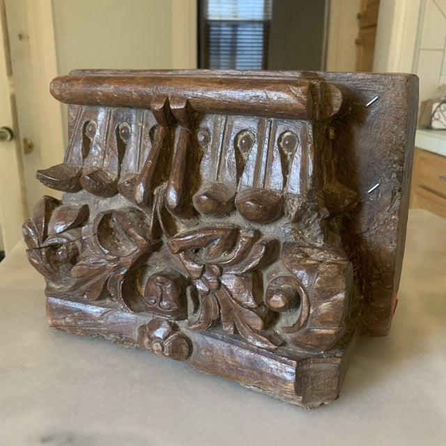 C. 1880 Anglo Indian Carved Teak Architectural Column Top For Sale - Image 4 of 13