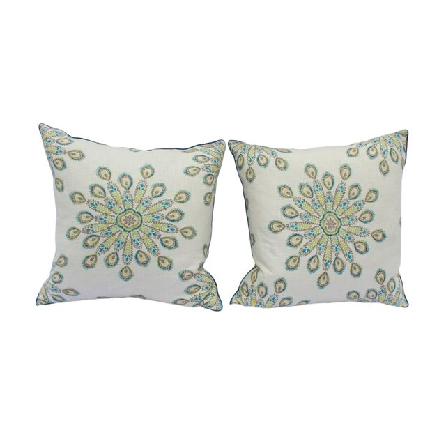1960s Mid-Century Modern Printed Linen Down Pillows - a Pair For Sale