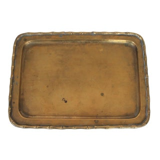 Decorative Brass Tray With Bamboo Motif For Sale