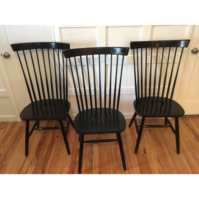 Edmund Spence Style Ebony High Comb Spindle Windsor Chairs - Set of 3 For Sale - Image 13 of 13