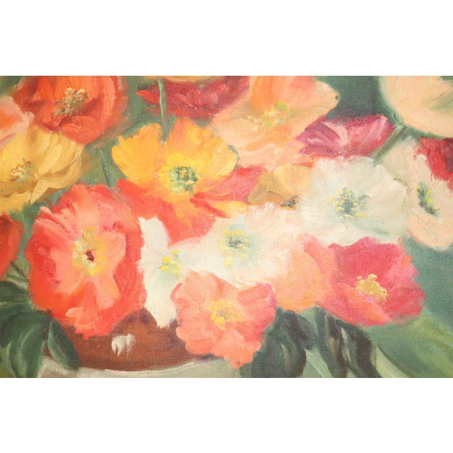 Modern Vintage Mid-Century Floral Still Life Painting For Sale - Image 3 of 5