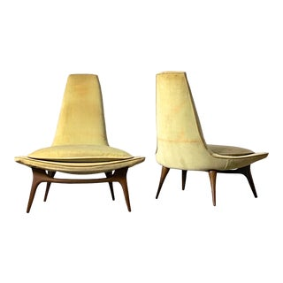 1960s Vintage Karpen of California High Back Lounge Chairs- A Pair For Sale