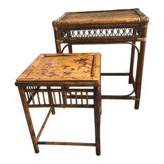Vintage Rattan Side Table Cottage Set - a Pair