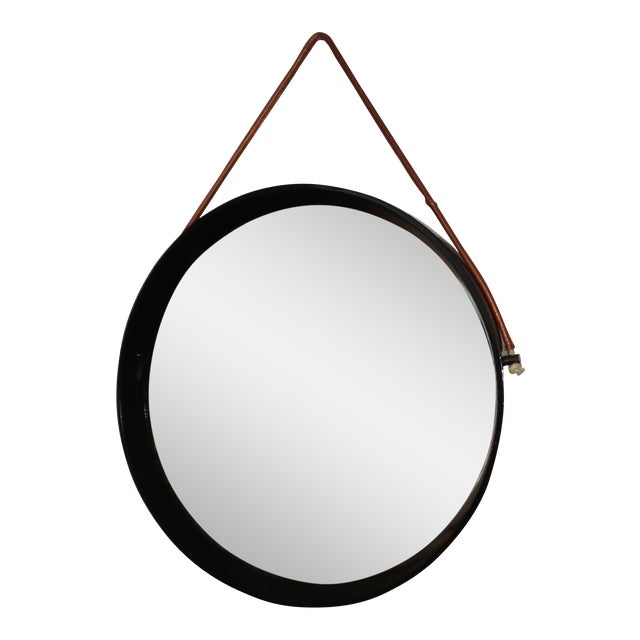 Mid Century Modern Jacques Adnet Style Black Lacquered Mirror with Copper Leather Strap - Image 1 of 8
