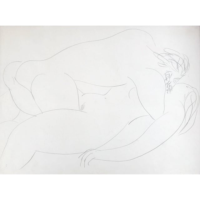 Abstract Vintage French Abstract Erotic Nude Pencil Drawing Paris 1951 For Sale - Image 3 of 6