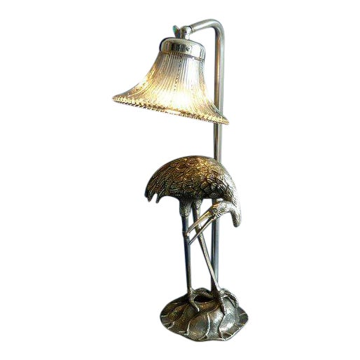 Hollywood Regency Maison Bagues Silvered Bronze/ Crystal Shade Heron Lamp For Sale