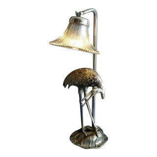 Hollywood Regency Silvered Bronze/ Crystal Shade Heron Lamp