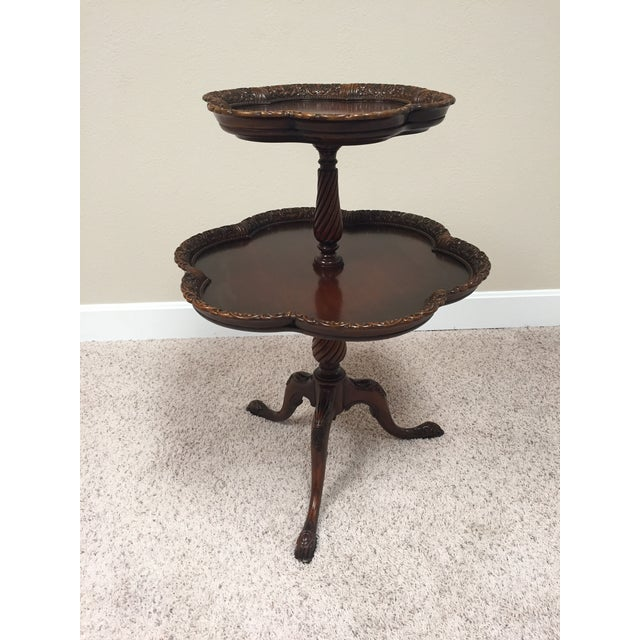 Vintage Chippendale Two Tier Colonial Revival Pie Crust Table For Sale - Image 13 of 13