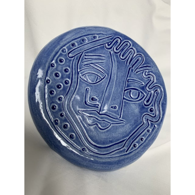 Blue Abstract Art Ceramic Pottery Plate Face Sculpture For Sale - Image 9 of 11