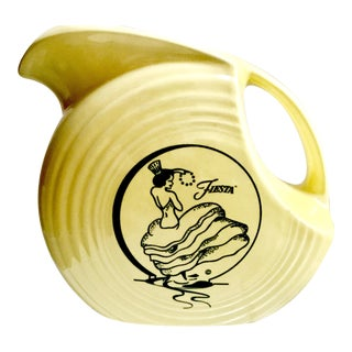 Vintage Limited Edition Fiestaware in Yellow Disk Pitcher With Dancing Lady