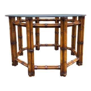 1970s Vintage Octagonal Bamboo Dining Table For Sale