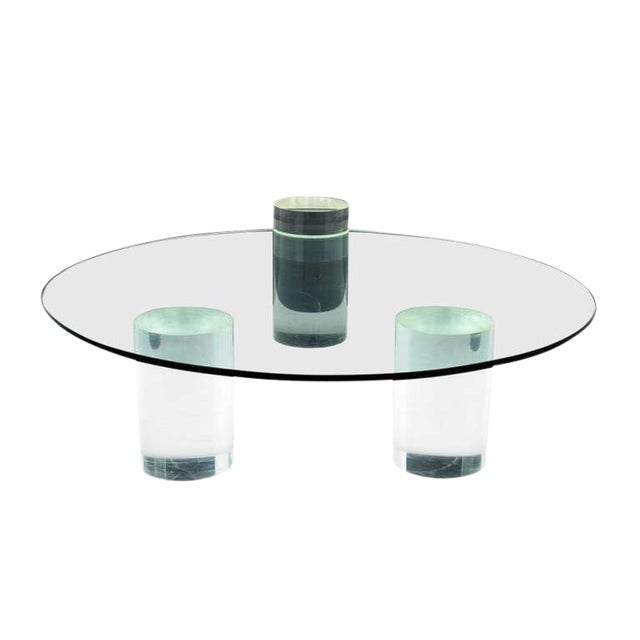 Lucite Lucite Column Coffee Table - in the Style of Charles Hollis Jones For Sale - Image 7 of 7
