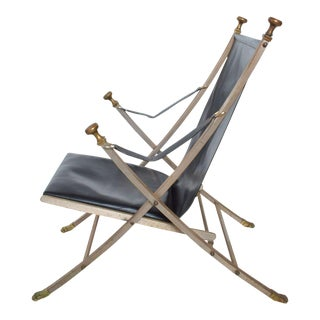 Maison Jansen Regency Bronze Campaign Leather Lounge Chair For Sale