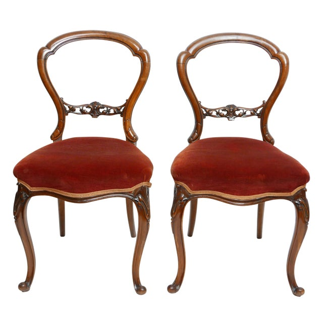 Pair of Walnut Balloon Back Side Chairs, English Victorian 19th Century For Sale - Image 12 of 12
