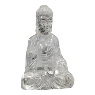 Antique Chinese Rock Crystal Buddha Sculpture For Sale