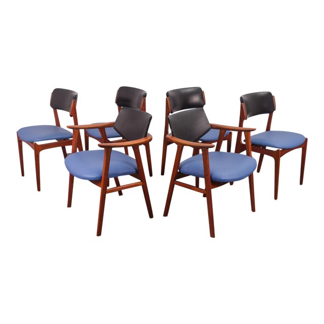 Set of 6 Erik Buck Style Teak Dining Chairs - Image 1 of 11