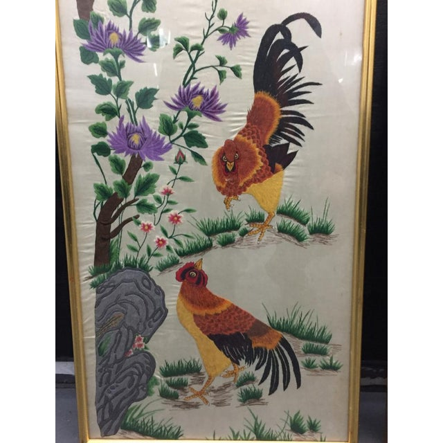 Up for sale: two unusual old Chinese silk embroidery panels depicting roosters, birds, plum-blossom and rockwork, etc,...