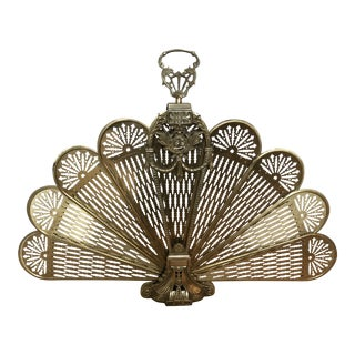 Brass Foldable Fireplace Fan For Sale