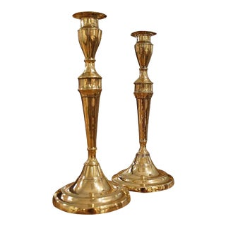 English George III Brass Candlesticks - a Pair