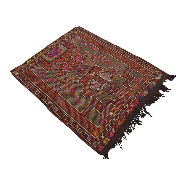 Turkish Rug Hand Woven Tribal Kilim Rug - 3′10″ X 4′11″ For Sale