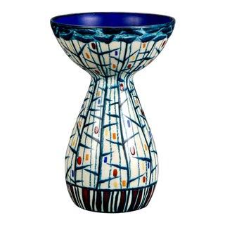 Mid Century Ernest d'Hossche Op Art Blue White Vase