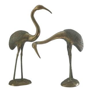 Vintage Mid Century Brass Cranes- a Pair For Sale