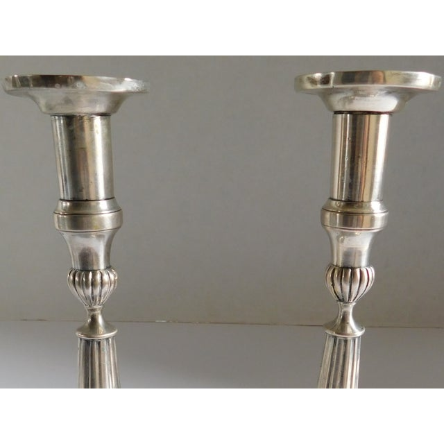 Sterling Silver European Hallmarked Candleholders - a Pair For Sale In New York - Image 6 of 12