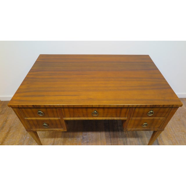 Wood Midcentury Tiger Wood Desk For Sale - Image 7 of 13