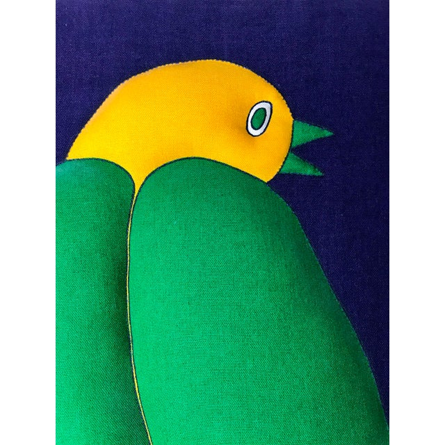 Vintage Plush Fabric Wall Art of Tropical Bird on Flowers For Sale In San Francisco - Image 6 of 10