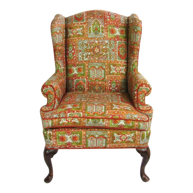 Velvet & Print Wingback Chair - Image 1 of 9