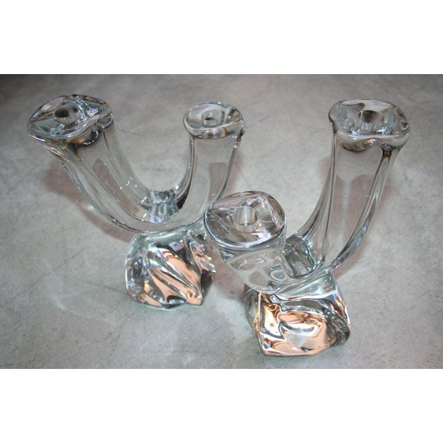 Daum 1950s Daum Two-Arm Crystal Candelabra Candleholders - a Pair For Sale - Image 4 of 5